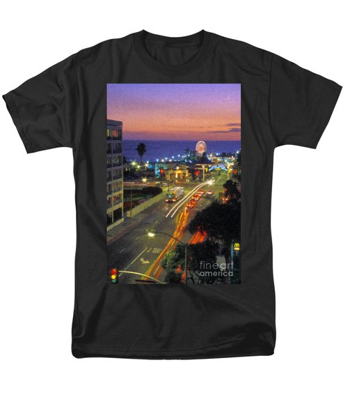 Men's T-Shirt  (Regular Fit) featuring the photograph Santa Monica Ca Pacific Park Pier  Sunset by David Zanzinger