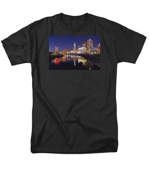 Men's T-Shirt  (Regular Fit) featuring the photograph  Scioto Reflections - Columbus by Alan Raasch