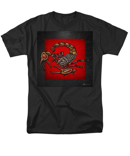 Scorpion On Red And Black  Men's T-Shirt  (Regular Fit) by Serge Averbukh