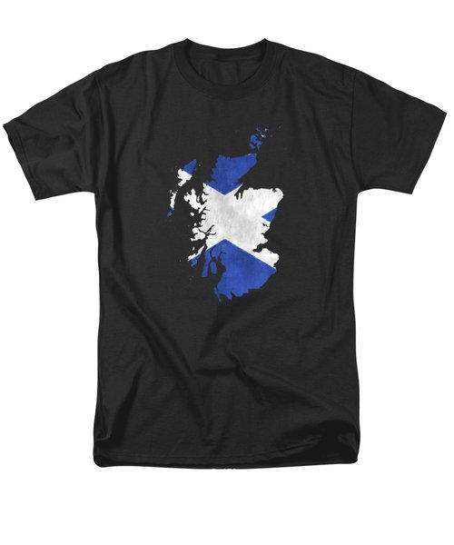 Scotland Map Art With Flag Design Men's T-Shirt  (Regular Fit) by World Art Prints And Designs