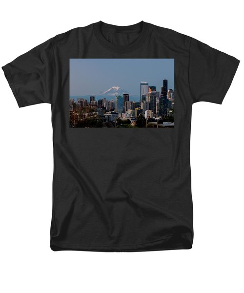 Seattle-mt. Rainier In The Morning Light .1 Men's T-Shirt  (Regular Fit) by E Faithe Lester