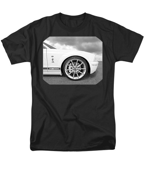 Shelby Gt500 Wheel Black And White Men's T-Shirt  (Regular Fit) by Gill Billington