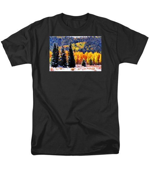 Men's T-Shirt  (Regular Fit) featuring the photograph Shivering Pines In Autumn by Diane Alexander