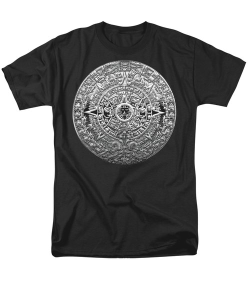 Silver Mayan-aztec Calendar On Black And Red Leather Men's T-Shirt  (Regular Fit) by Serge Averbukh