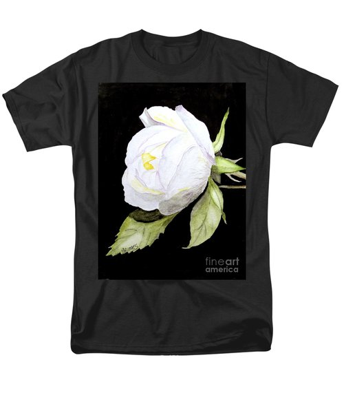 Men's T-Shirt  (Regular Fit) featuring the painting Single White  Bloom  by Carol Grimes