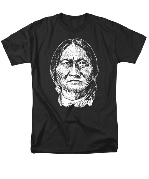 Sitting Bull Graphic - Black And White Men's T-Shirt  (Regular Fit) by War Is Hell Store
