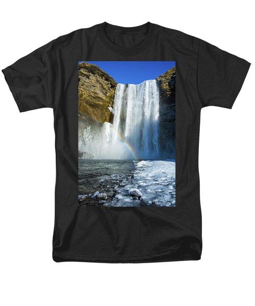 Men's T-Shirt  (Regular Fit) featuring the photograph Skogafoss Waterfall Iceland In Winter by Matthias Hauser