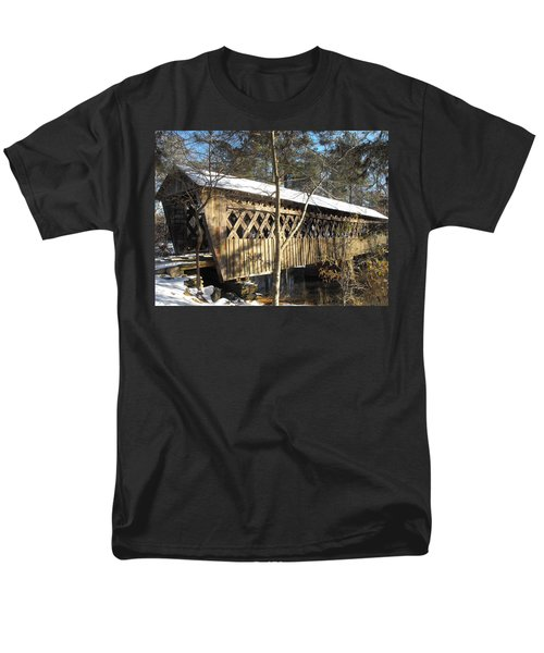 Snow Covered Bridge Men's T-Shirt  (Regular Fit) by Adam Cornelison