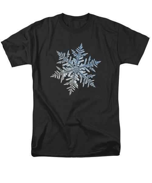 Men's T-Shirt  (Regular Fit) featuring the photograph Snowflake Photo - Silverware by Alexey Kljatov