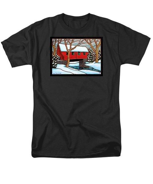 Snowy Covered Bridge Men's T-Shirt  (Regular Fit) by Jim Harris