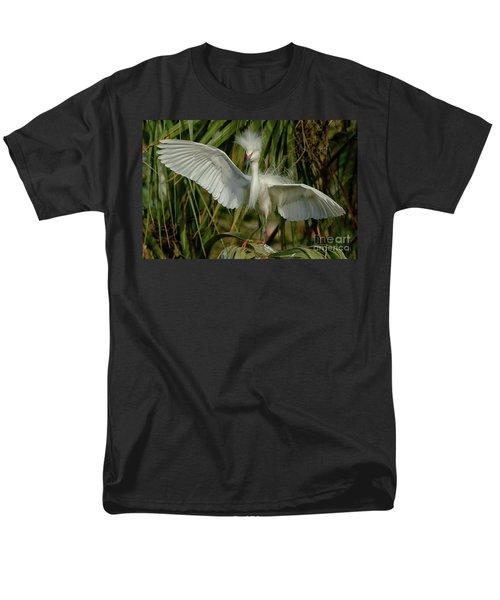 Snowy Egret In The Trees Men's T-Shirt  (Regular Fit) by Myrna Bradshaw