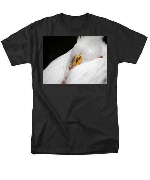 Snuggled White Pelican Men's T-Shirt  (Regular Fit) by Penny Lisowski