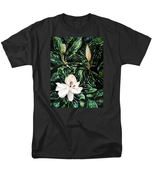 Men's T-Shirt  (Regular Fit) featuring the painting Southern Magnolia Bud And Bloom by Patricia L Davidson