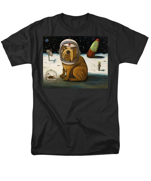 Men's T-Shirt  (Regular Fit) featuring the painting Space Crash by Leah Saulnier The Painting Maniac