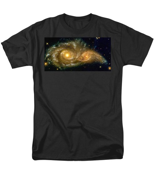 Space Image Spiral Galaxy Encounter Men's T-Shirt  (Regular Fit) by Matthias Hauser