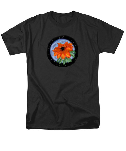 Space Zinnia On Black Men's T-Shirt  (Regular Fit) by Jean Pacheco Ravinski