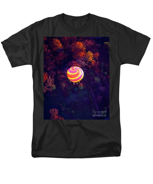 Spiral Colored Hot Air Balloon Over Fall Tree Tops Mchenry   Men's T-Shirt  (Regular Fit) by Tom Jelen