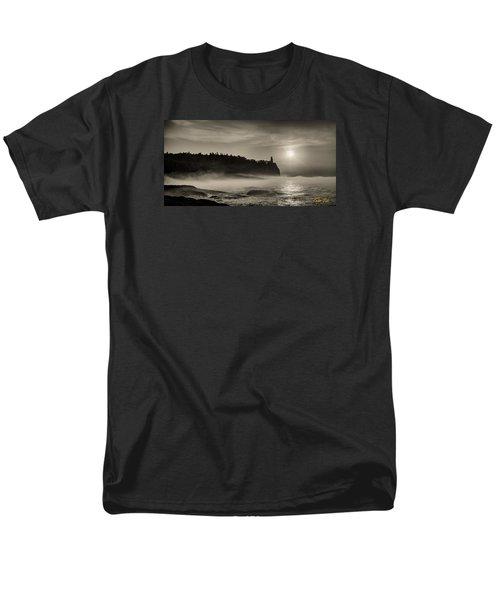 Men's T-Shirt  (Regular Fit) featuring the photograph Split Rock Lighthouse Emerging Fog by Rikk Flohr