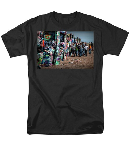 Men's T-Shirt  (Regular Fit) featuring the photograph Spray Paint Fun At Cadillac Ranch by Randall Nyhof