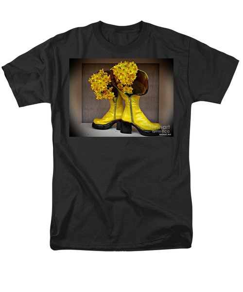 Spring In Yellow Boots Men's T-Shirt  (Regular Fit) by AmaS Art