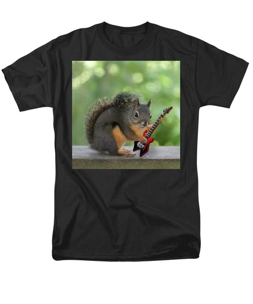 Squirrel Playing Electric Guitar Men's T-Shirt  (Regular Fit) by Peggy Collins