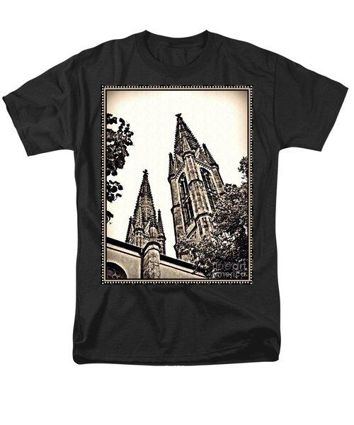 St Boniface Church Towers Sepia Men's T-Shirt  (Regular Fit) by Sarah Loft