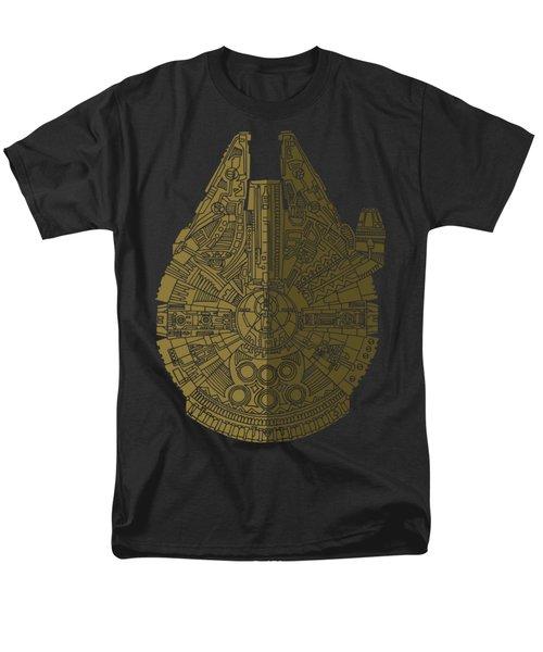 Star Wars Art - Millennium Falcon - Black, Brown Men's T-Shirt  (Regular Fit) by Studio Grafiikka