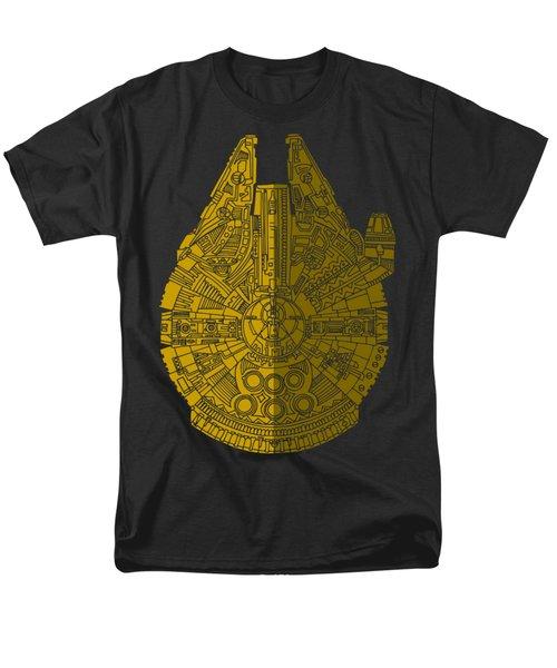 Star Wars Art - Millennium Falcon - Brown Men's T-Shirt  (Regular Fit) by Studio Grafiikka