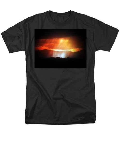 Men's T-Shirt  (Regular Fit) featuring the photograph Storm Glow Night Over Santa Fe Mountains by Joseph Frank Baraba