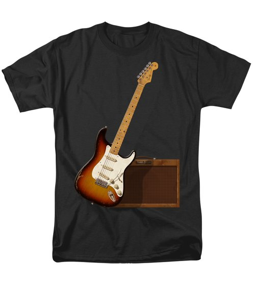 Men's T-Shirt  (Regular Fit) featuring the digital art Strat And Tweed Amp by WB Johnston