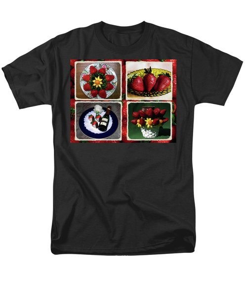 Strawberry Collage Men's T-Shirt  (Regular Fit) by Sally Weigand