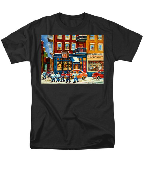 St.viateur Bagel Hockey Montreal Men's T-Shirt  (Regular Fit) by Carole Spandau