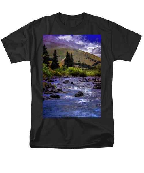 Men's T-Shirt  (Regular Fit) featuring the photograph Summer At The Animas River by Ellen Heaverlo