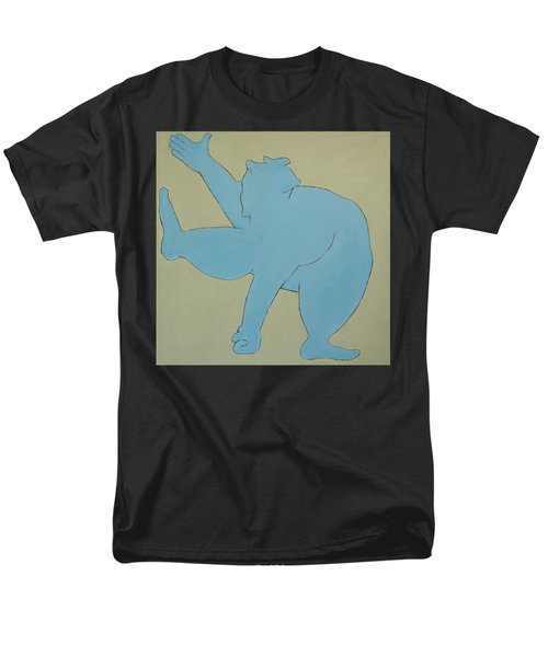 Men's T-Shirt  (Regular Fit) featuring the painting Sumo Wrestler In Blue by Ben Gertsberg