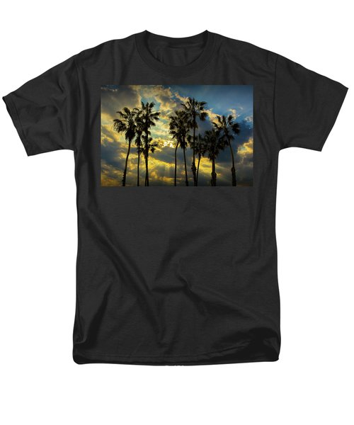 Men's T-Shirt  (Regular Fit) featuring the photograph Sunbeams And Palm Trees By Cabrillo Beach by Randall Nyhof