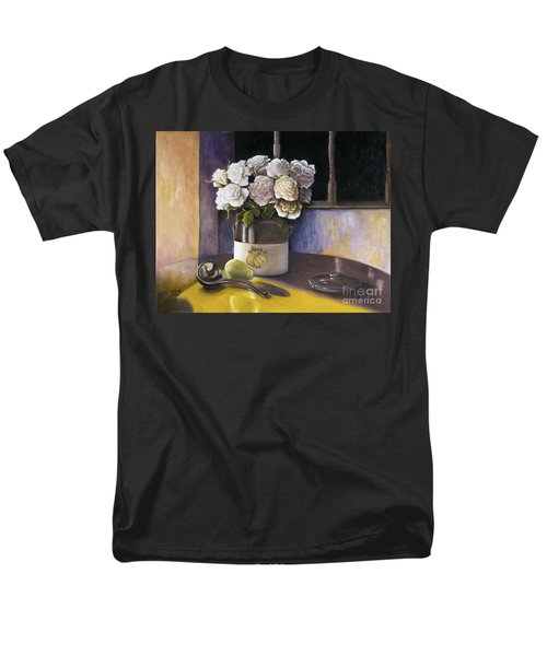 Men's T-Shirt  (Regular Fit) featuring the painting Sunday Morning And Roses Redux by Marlene Book
