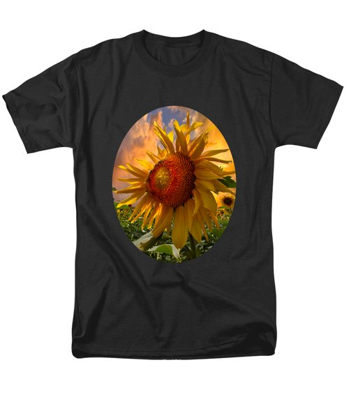 Men's T-Shirt  (Regular Fit) featuring the photograph Sunflower Dawn In Oval by Debra and Dave Vanderlaan