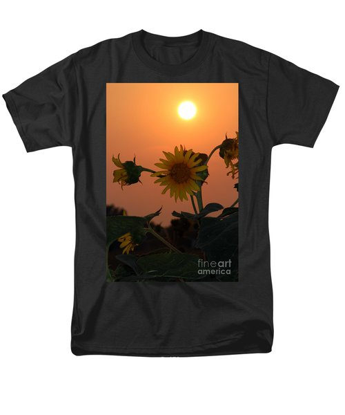 Men's T-Shirt  (Regular Fit) featuring the photograph Sunflowers At Sunset by Kathy  White