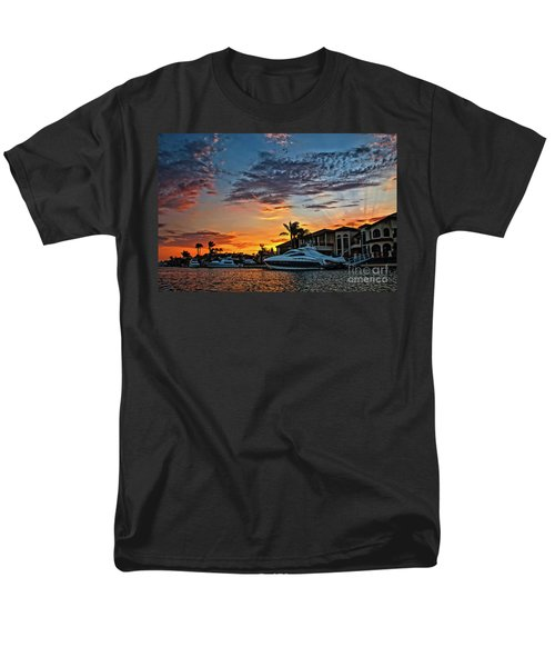 Sunrays Sunset Over Huntington Harbour Men's T-Shirt  (Regular Fit) by Peter Dang