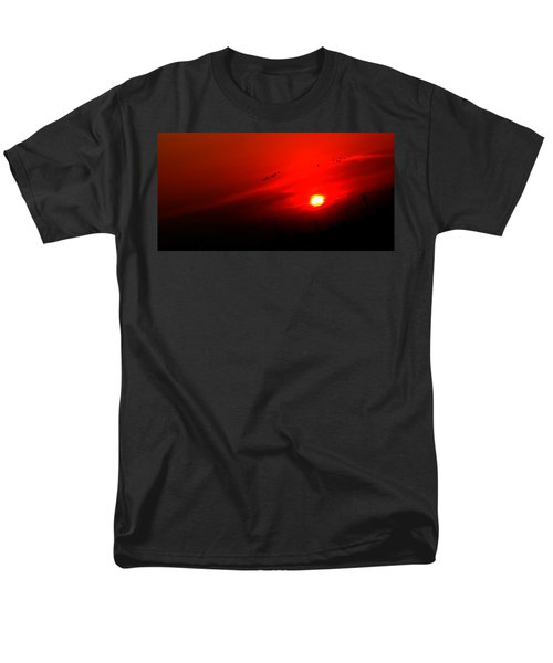Sunset Geese Leaving Disappearing City - 0814  Men's T-Shirt  (Regular Fit) by Michael Bessler