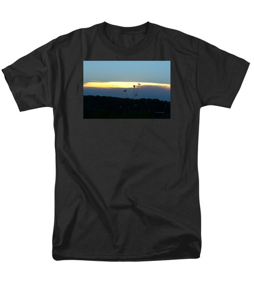 Men's T-Shirt  (Regular Fit) featuring the digital art Sunset Gold Stripe Queen Anne by Jana Russon