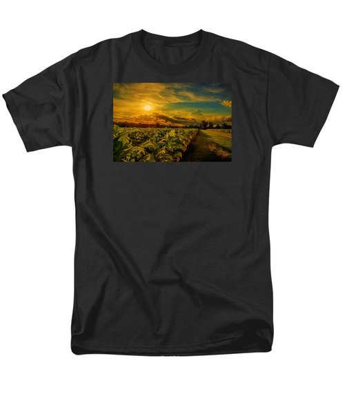 Men's T-Shirt  (Regular Fit) featuring the photograph Sunset In A North Carolina Tobacco Field  by John Harding
