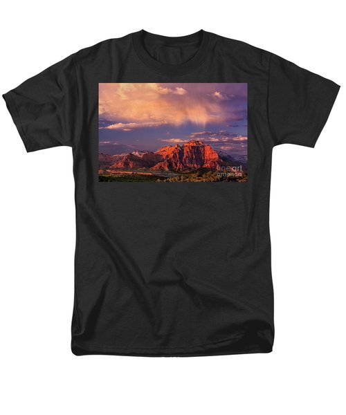 Sunset On West Temple Zion National Park Men's T-Shirt  (Regular Fit) by Dave Welling