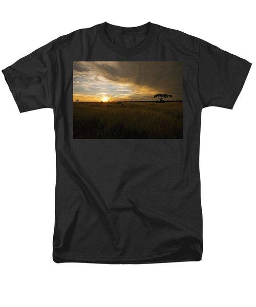 sunset over the Serengeti plains Men's T-Shirt  (Regular Fit) by Patrick Kain