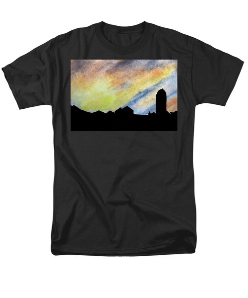 Sunset Silhouetted Farmstead Men's T-Shirt  (Regular Fit) by R Kyllo