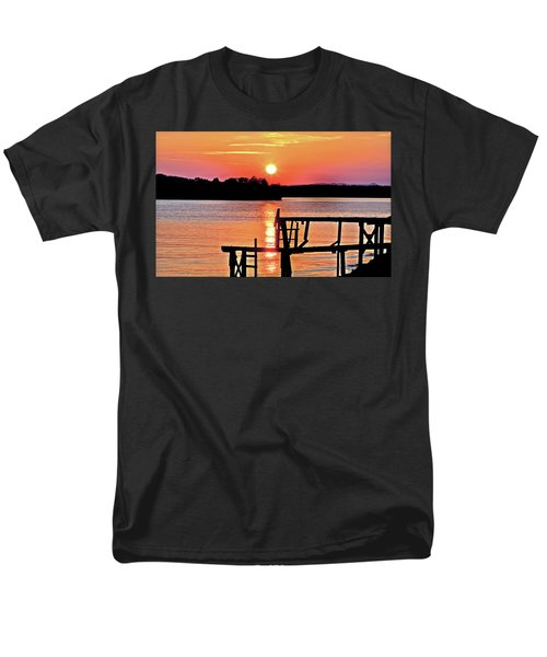 Surreal Smith Mountain Lake Dock Sunset Men's T-Shirt  (Regular Fit) by The American Shutterbug Society
