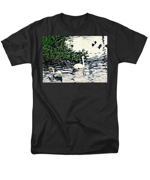 Men's T-Shirt  (Regular Fit) featuring the photograph Swan Family On The Rhine 2 by Sarah Loft