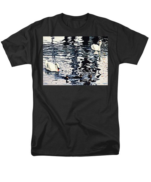 Men's T-Shirt  (Regular Fit) featuring the photograph Swan Family On The Rhine by Sarah Loft