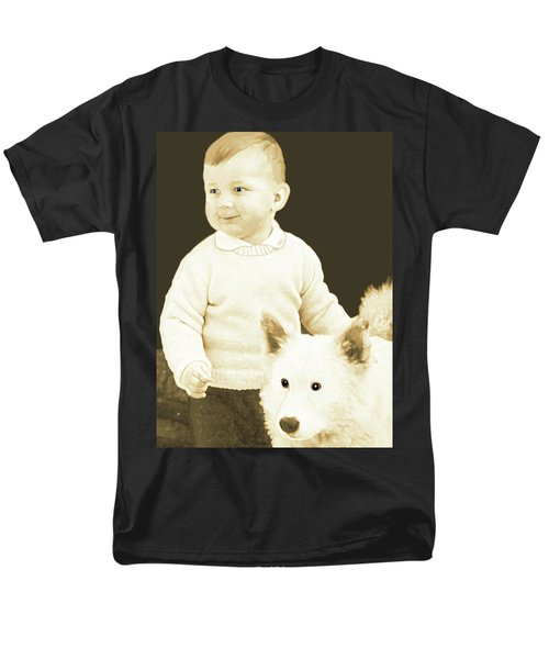 Sweet Vintage Toddler With His White Mutt Men's T-Shirt  (Regular Fit)