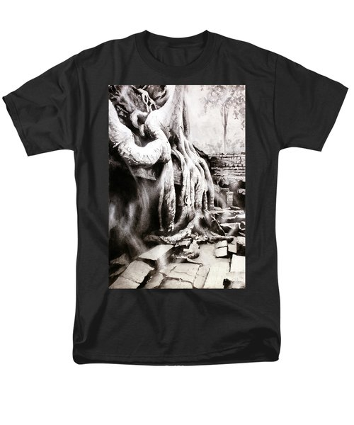 Men's T-Shirt  (Regular Fit) featuring the painting Sycamore Tree Overgrowing Ruins- Cambodia by Ryan Fox